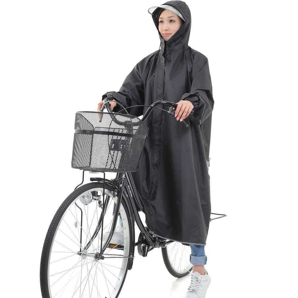 【DENGDING】軽量 レインコート 自転車用 ロング 袖付き レインポンチョ