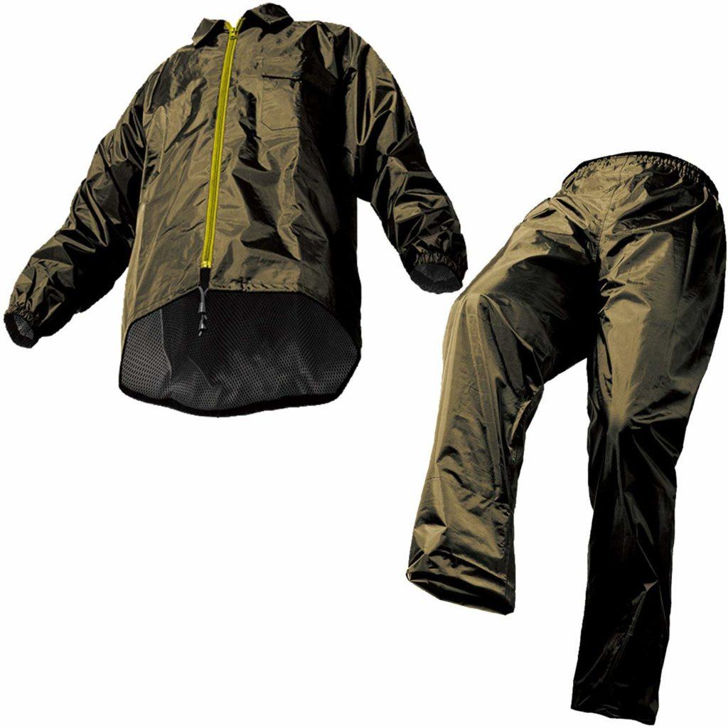 マック レインスーツ オリーブ 4L 裾上げ調整可能 防水 アジャストマック AS-5100