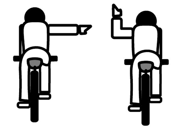 自転車 手信号 右折